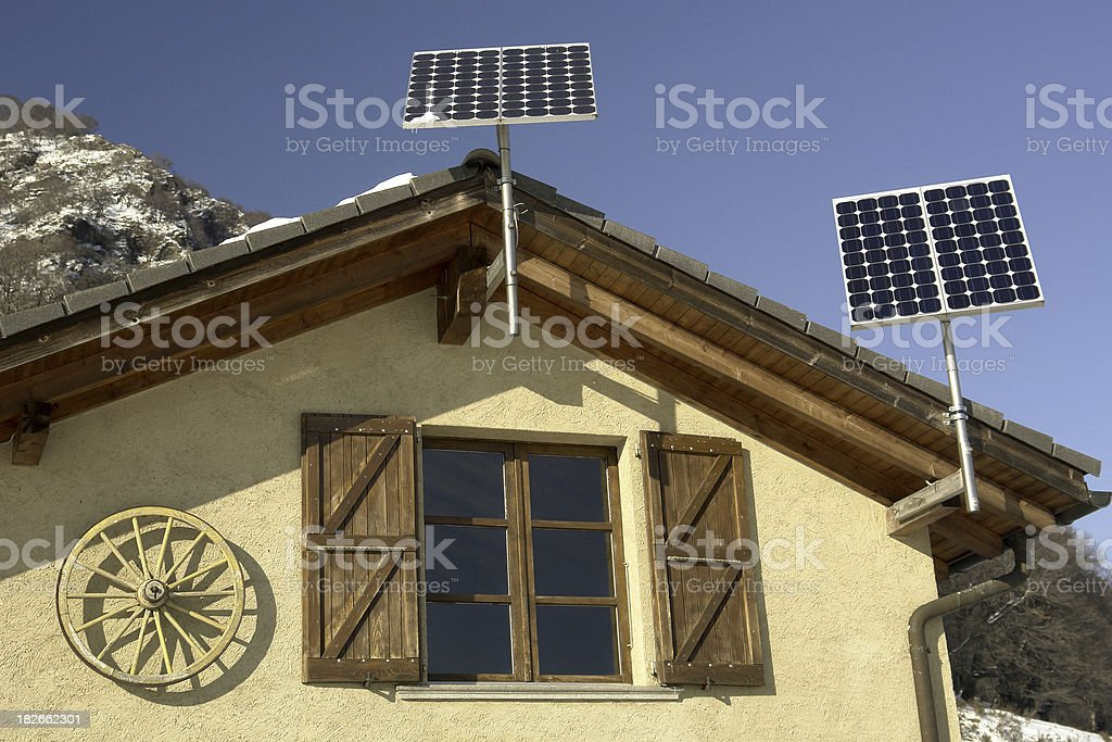 Solar Powered Mountain Cottage royalty-free stock photo