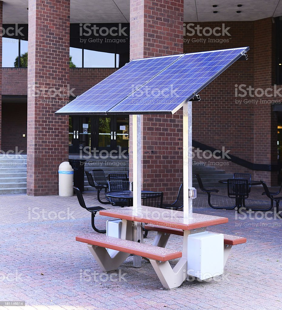 Solar Powered Picnic Table / Recharger royalty-free stock photo