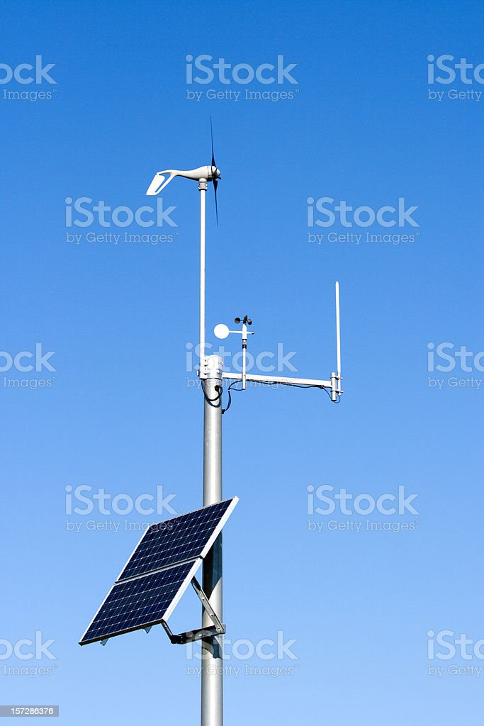 Solar Powered Weather Monitoring Station royalty-free stock photo