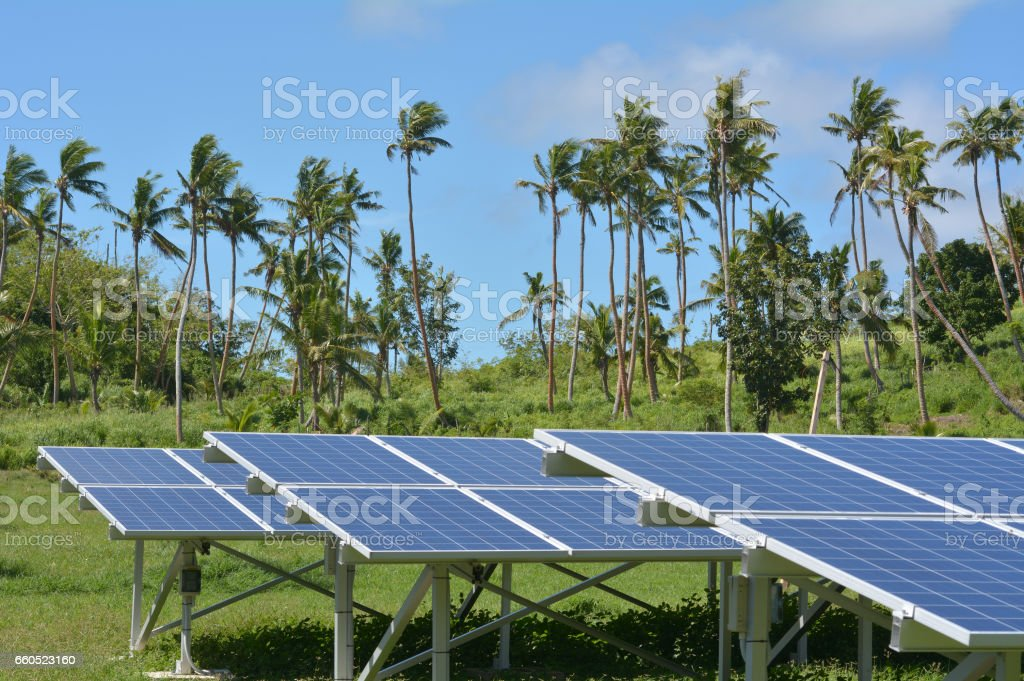 Solar PV modules on remote Island in Fiji stock photo