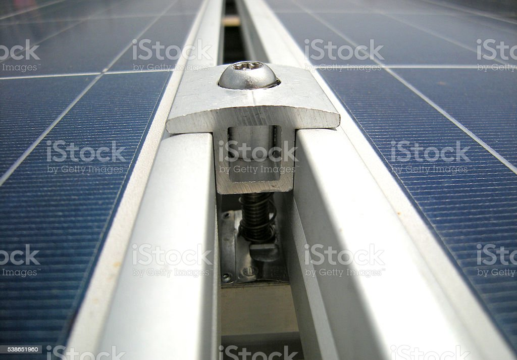 Solar PV Panel Clamp close up stock photo