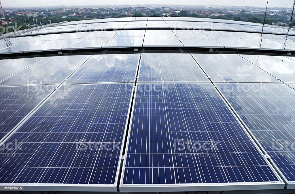 Solar PV Rooftop Cloud Reflect stock photo