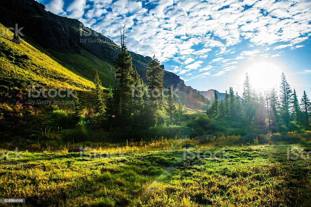 Solar Rays Warm The Skin Mountain Forest Scene stock photo