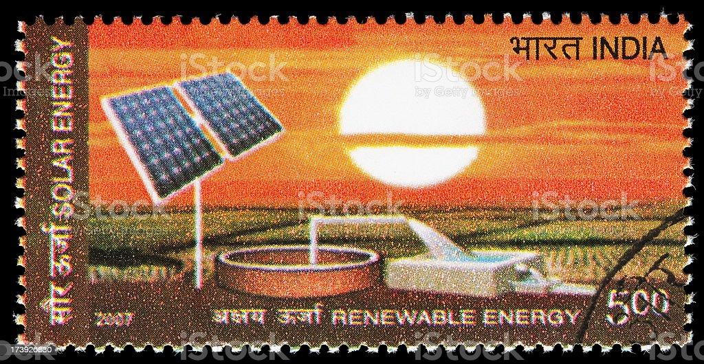 Solar renewable energy postage stamp royalty-free stock photo