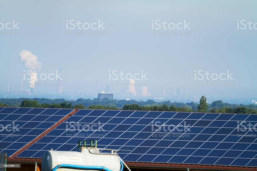 Solar roof and industry in Ruhrgebiet stock photo