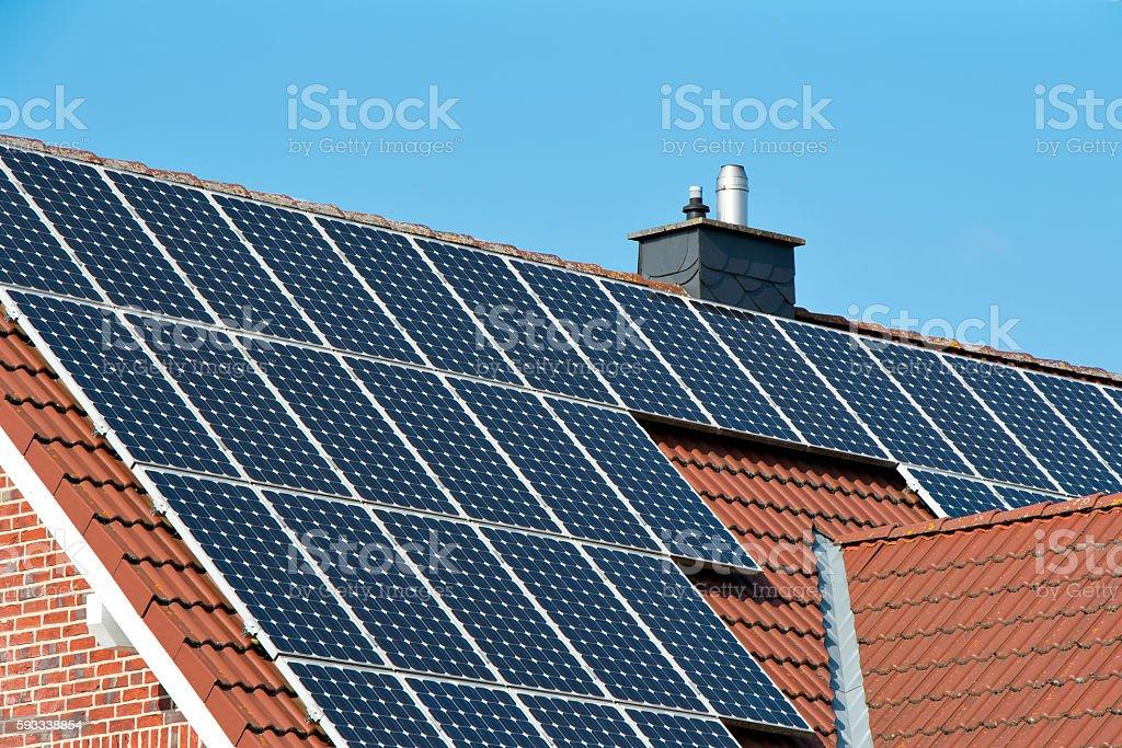 Solar roof on a single house stock photo