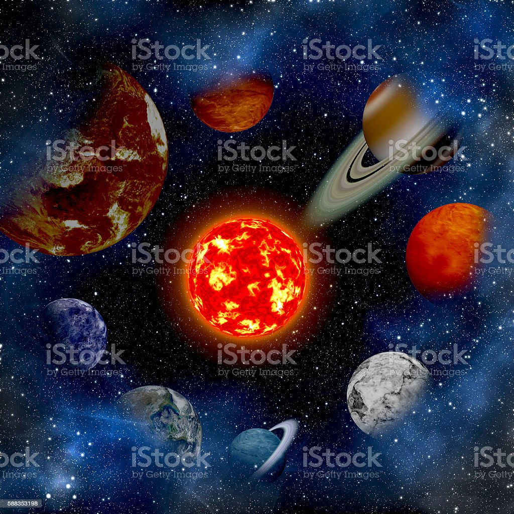 Solar system and space objects. Elements of this image furnished stock photo