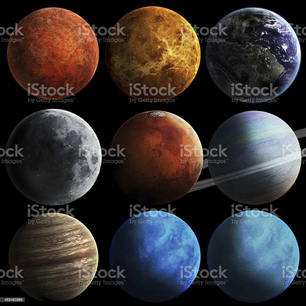 Solar system and space objects stock photo