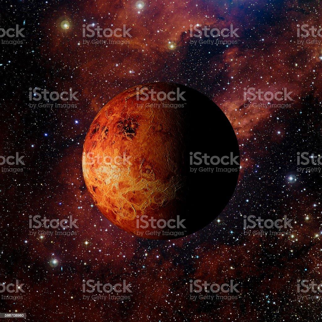 Solar system planet Venus on nebula background 3d rendering. stock photo