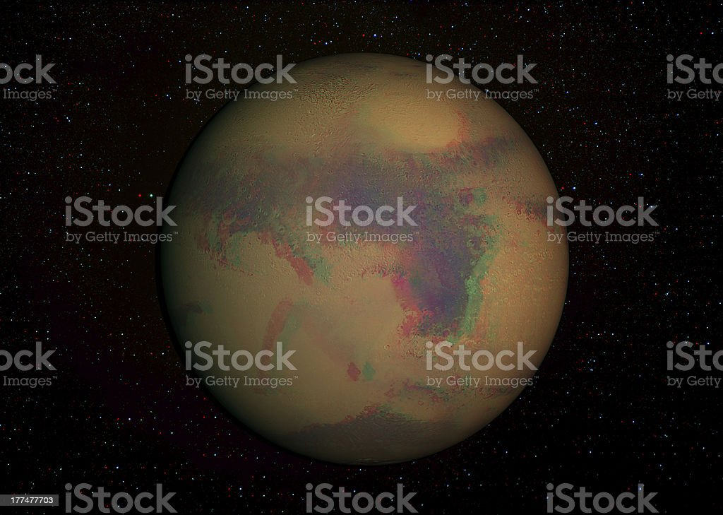 3D solar system series: Mars with stars in the background. royalty-free stock photo