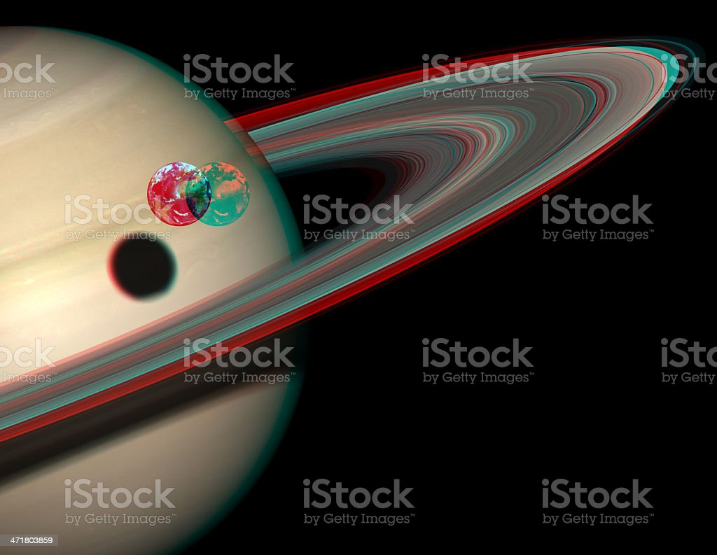 3D solar system series: Saturn and the Earth compared. royalty-free stock photo