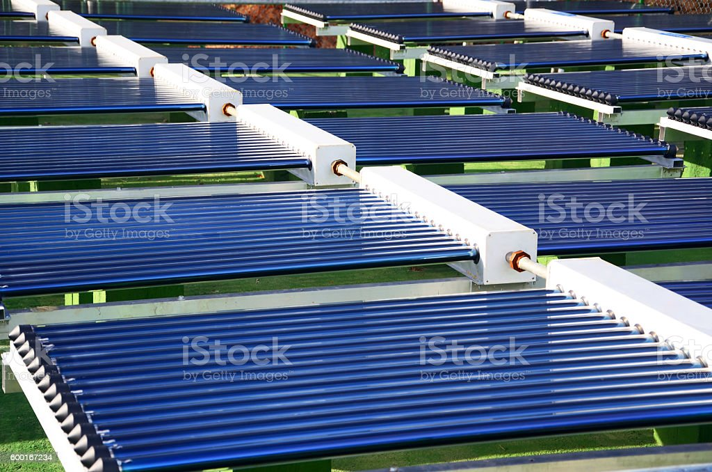 Solar thermal collector stock photo