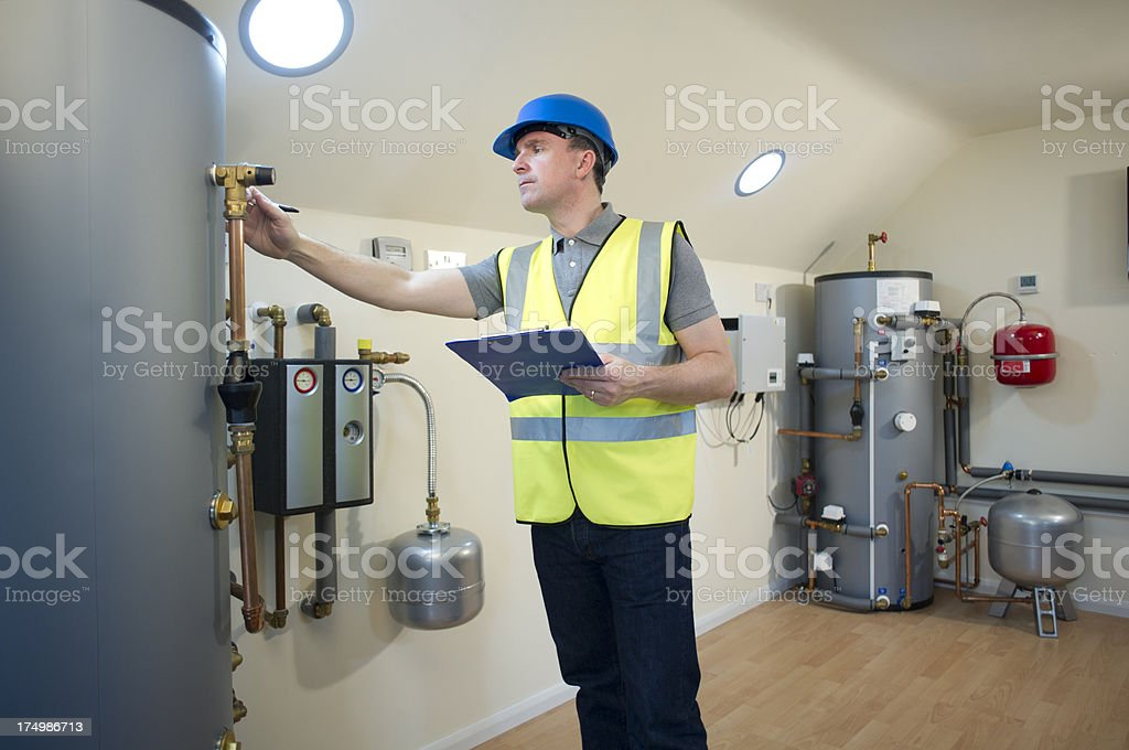 solar thermal engineer stock photo