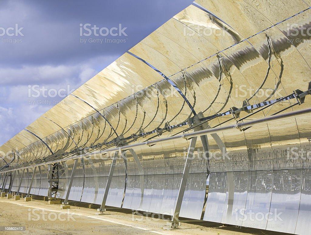 Solar trough collector parabolic stock photo