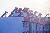 Solar water heaters on top of residential buildings