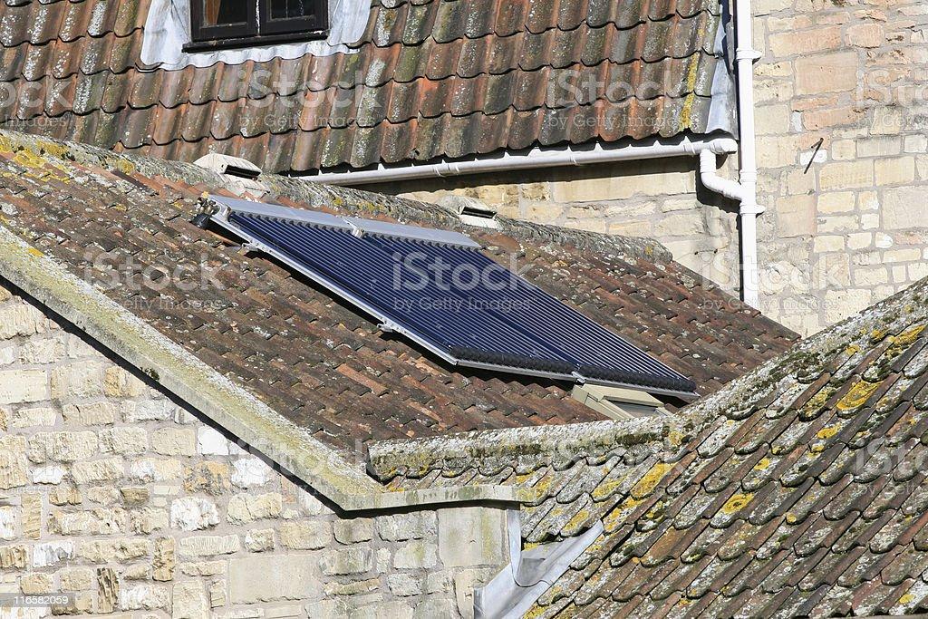 solar water heating stock photo