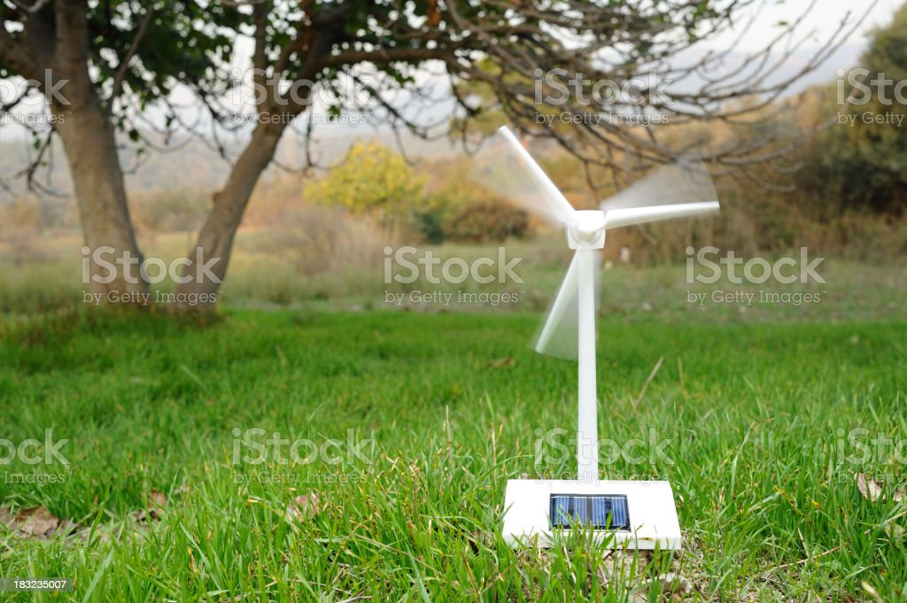 Solar wind turbine in nature royalty-free stock photo