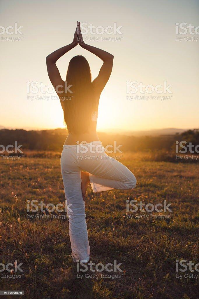 Solar Yoga stock photo
