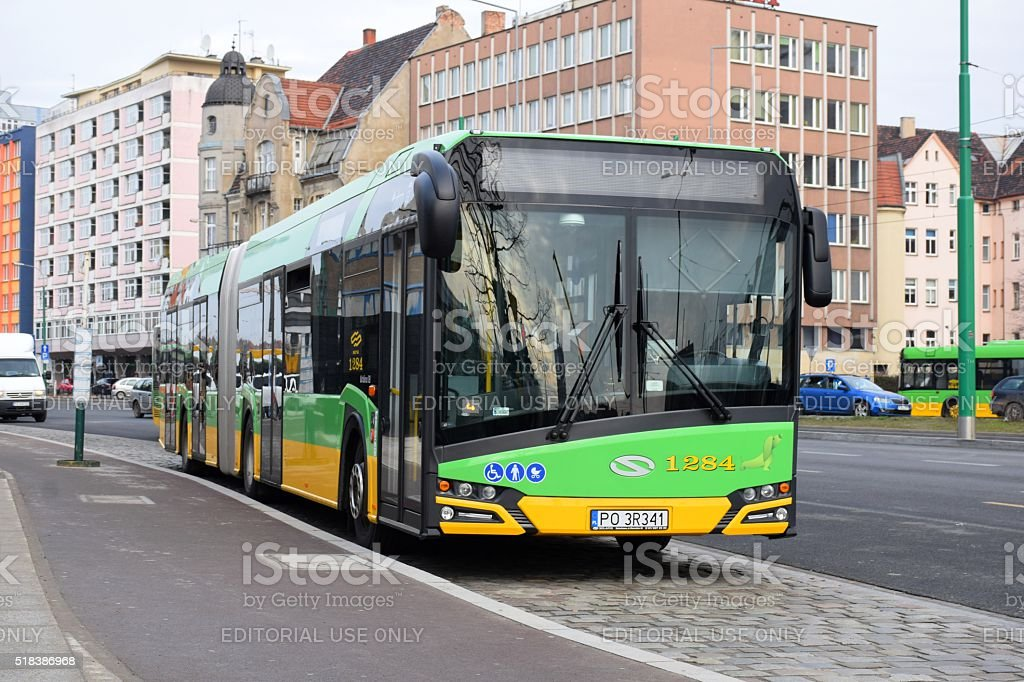 Solaris bus on the street stock photo