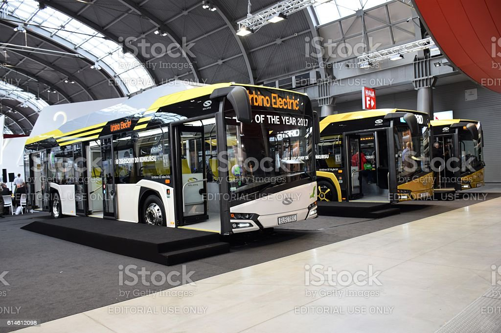 Solaris buses on the motor show stock photo