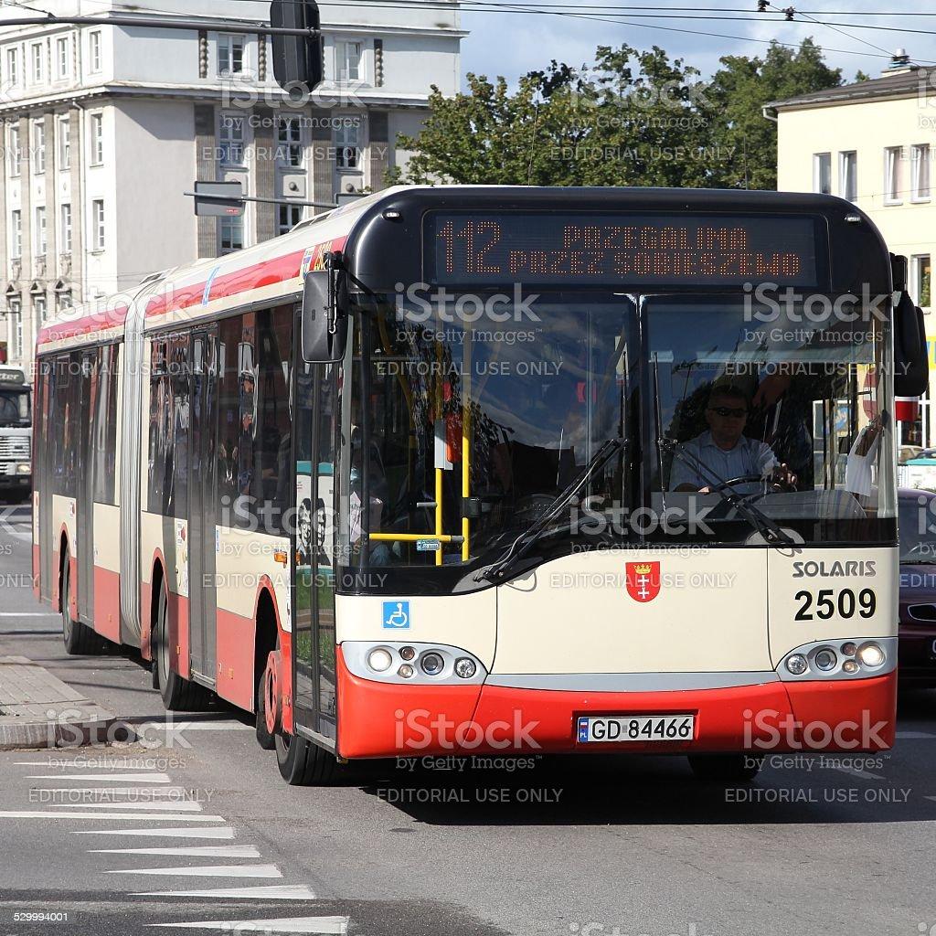 Solaris city bus stock photo