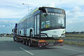 Solaris electric bus on the car transporter