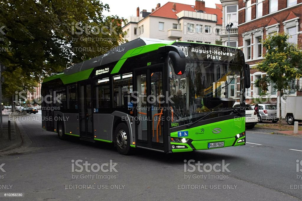 Solaris electric bus on the street stock photo