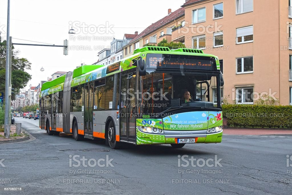 Solaris hybrid bus in motion stock photo