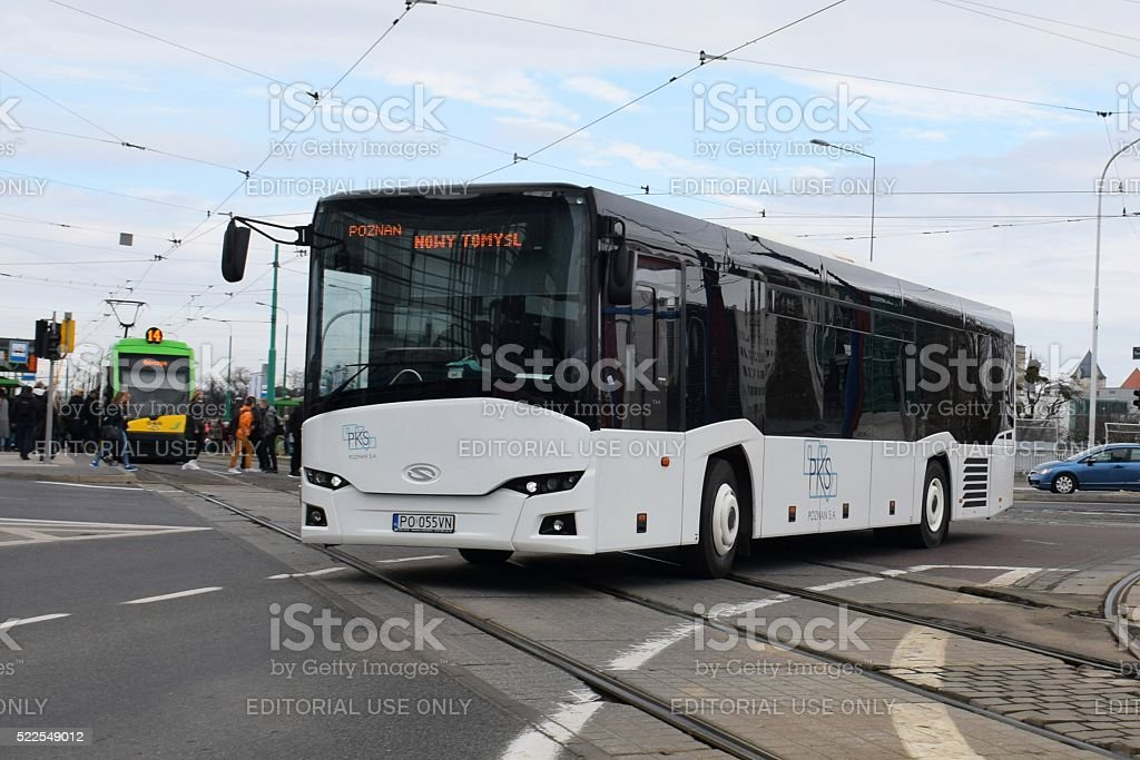 Solaris Interurbino driving on the street stock photo