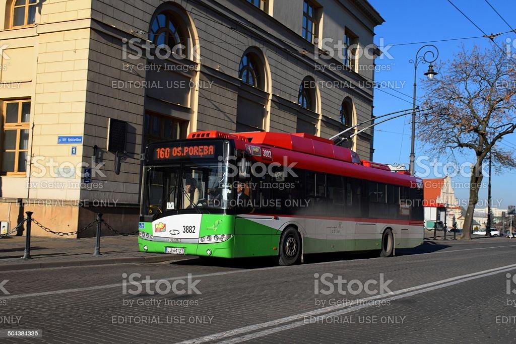 Solaris trolleybus on the street stock photo