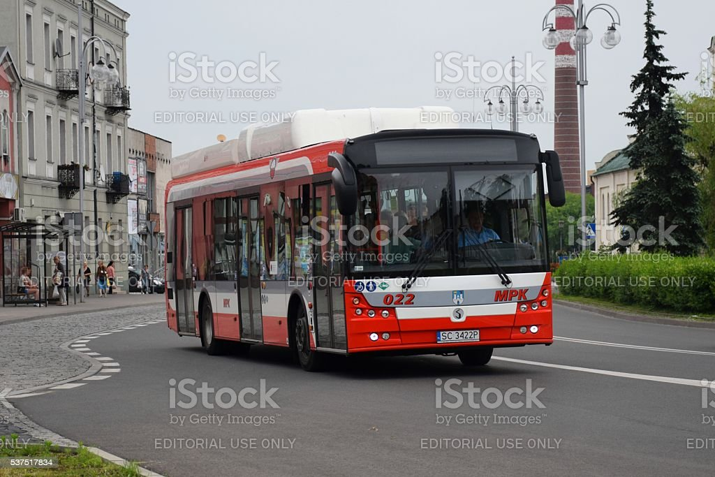 Solbus hybrid-CNG bus on the street stock photo