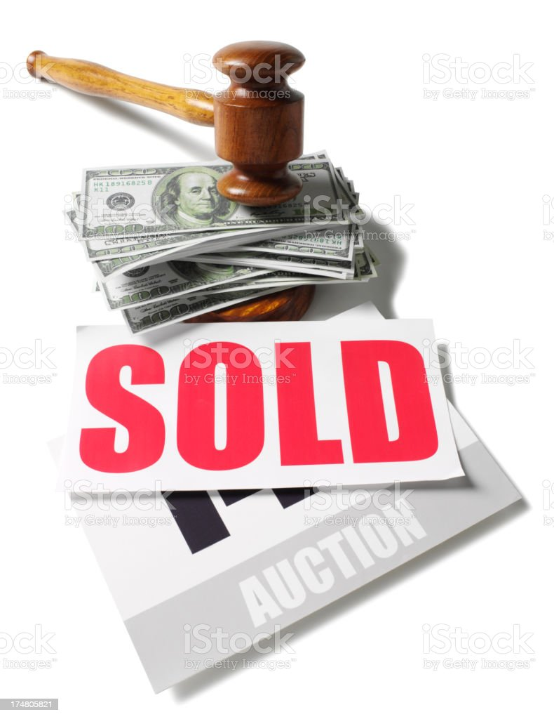 Sold at Auction with American Dollars Under a Gavel stock photo