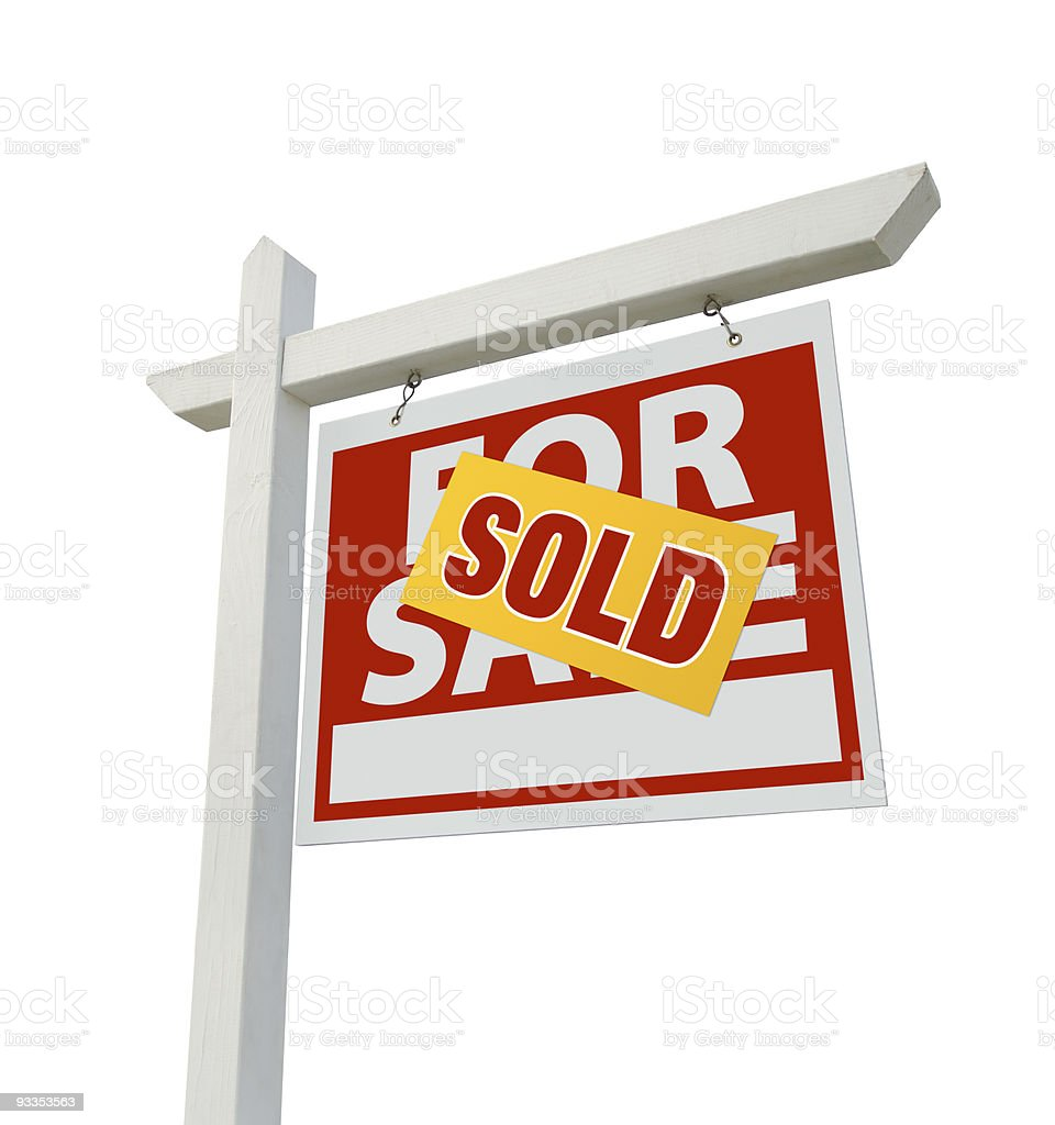 Sold For Sale Real Estate Sign Isolated stock photo