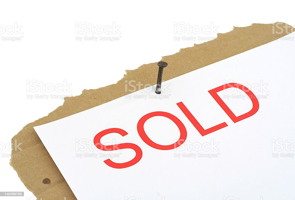 sold property sign stock photo