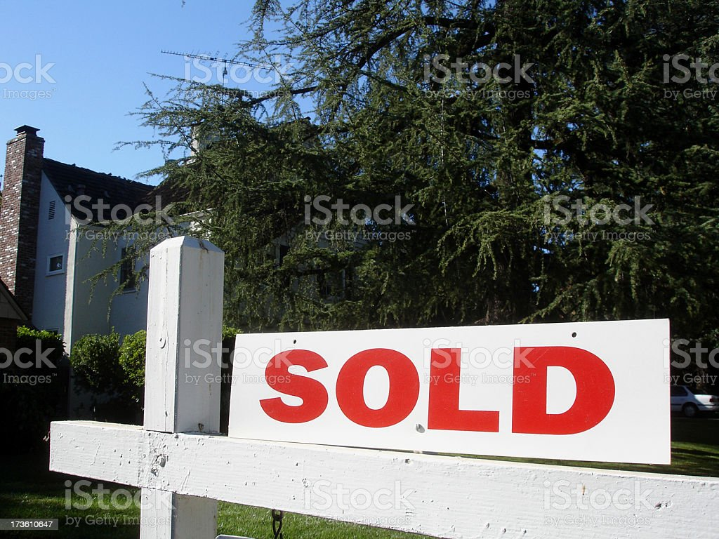 Sold real estate sign and California house royalty-free stock photo