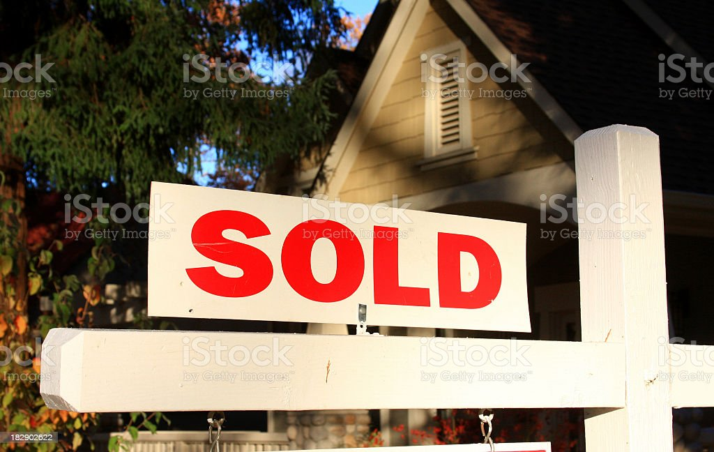 Sold real estate sign at a home in California stock photo