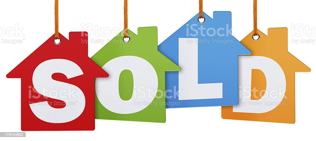 Sold Tags (Clipping Path) stock photo