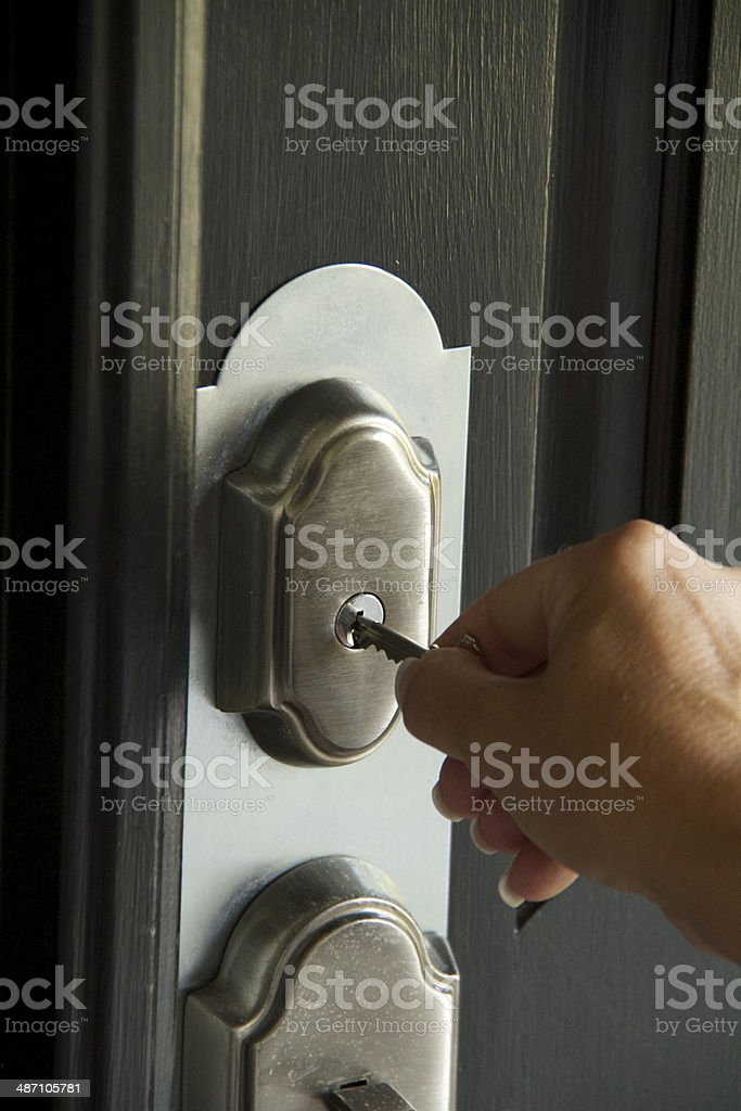 Sold with a Security Key in a door stock photo