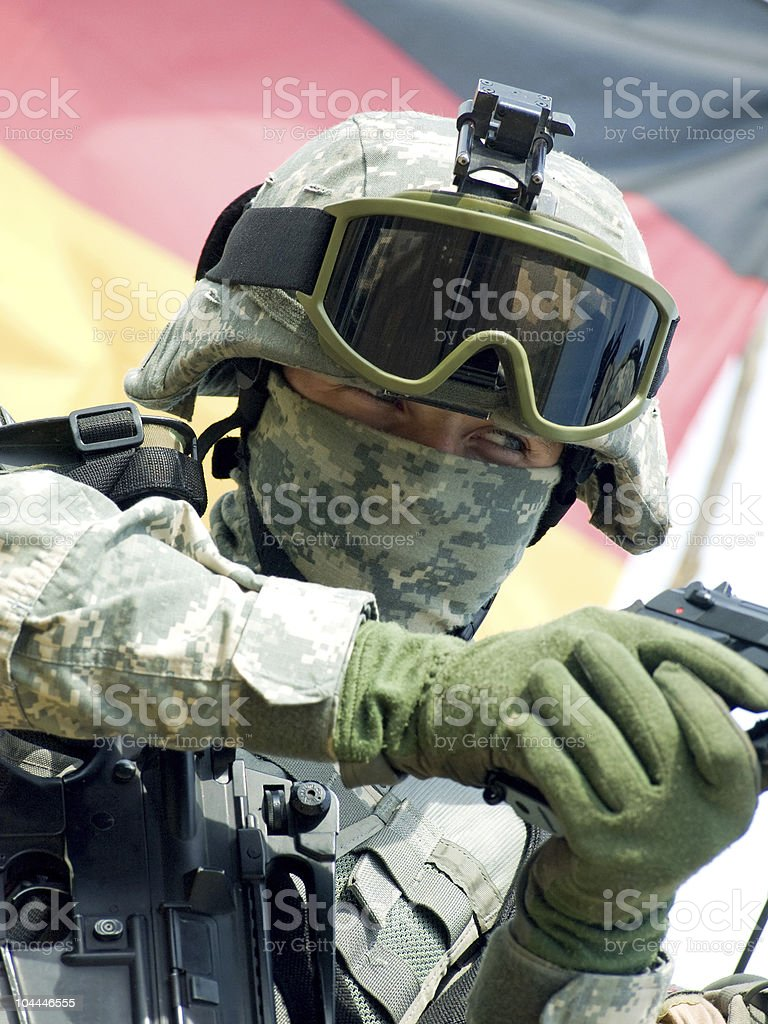 Soldier aiming royalty-free stock photo