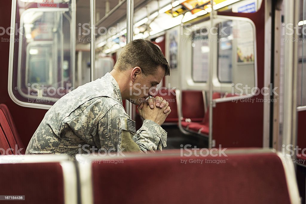 Soldier alone in train royalty-free stock photo