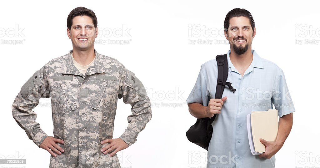 soldier and a young man with backpack stock photo