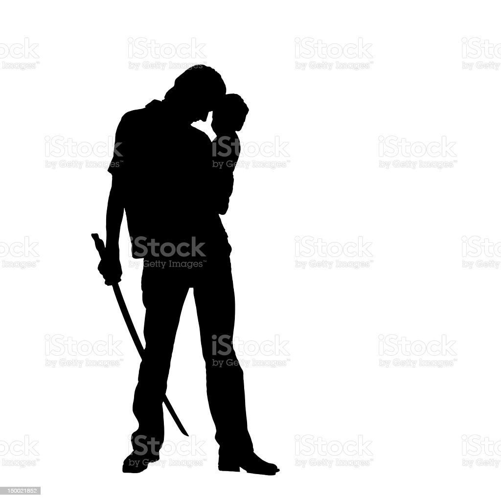 Soldier and baby stock photo