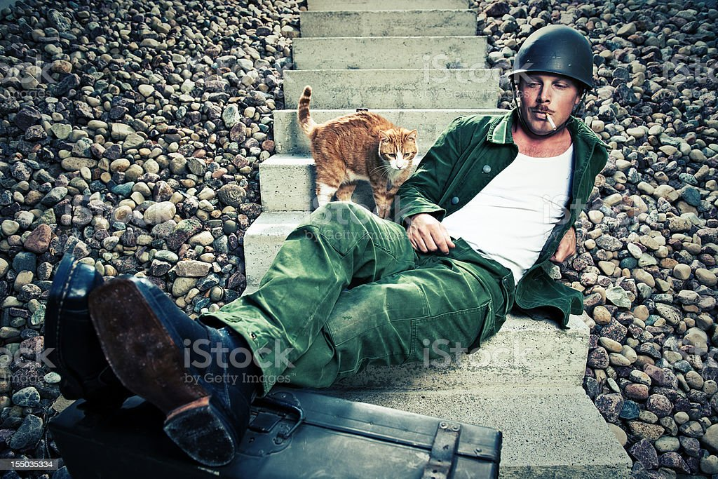 soldier and cat stock photo