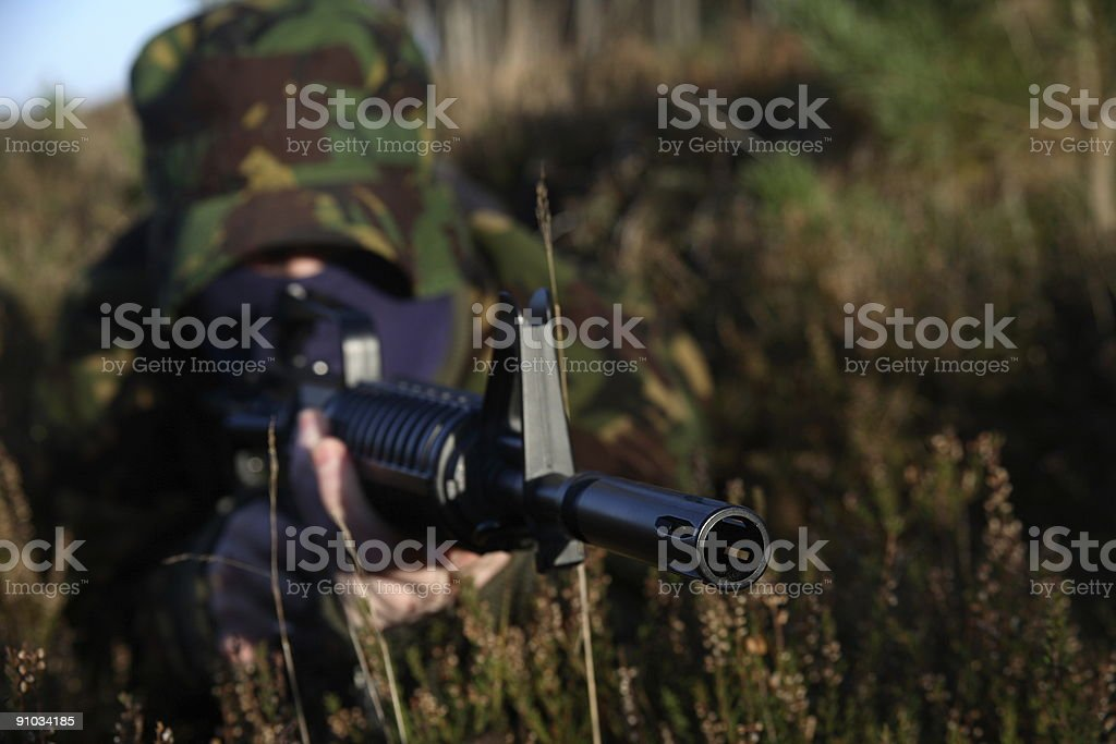 Soldier and his Rifle royalty-free stock photo