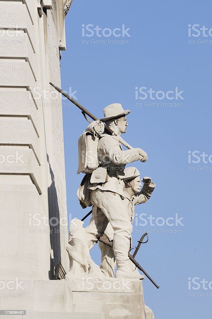 Soldier and Sailor Monument Circle Detail Indianapolis Indiana stock photo