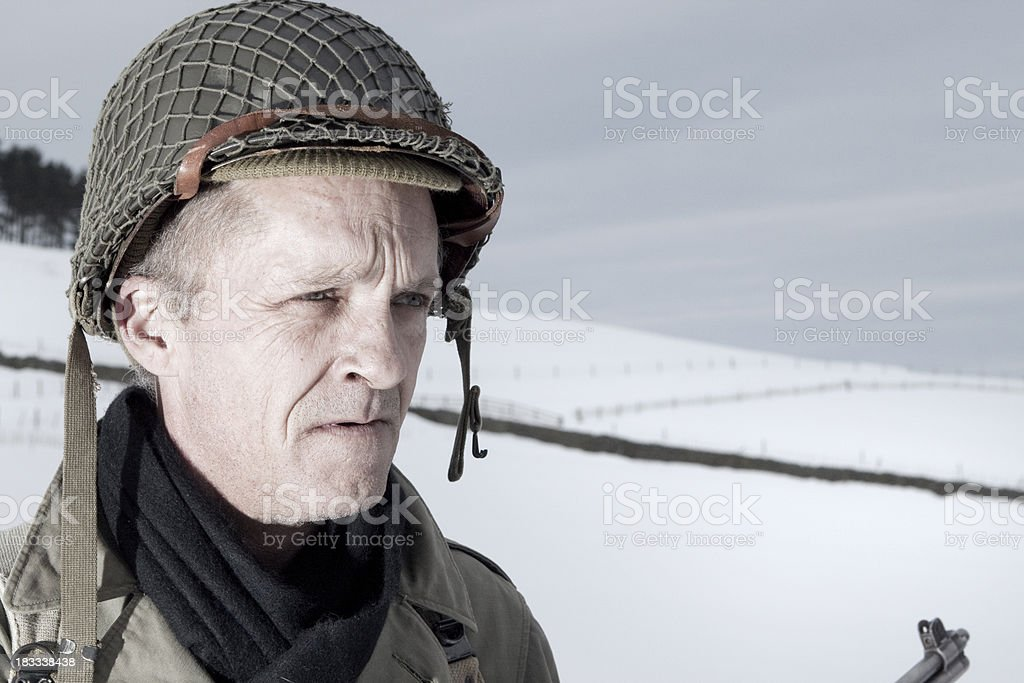 Soldier and snow stock photo