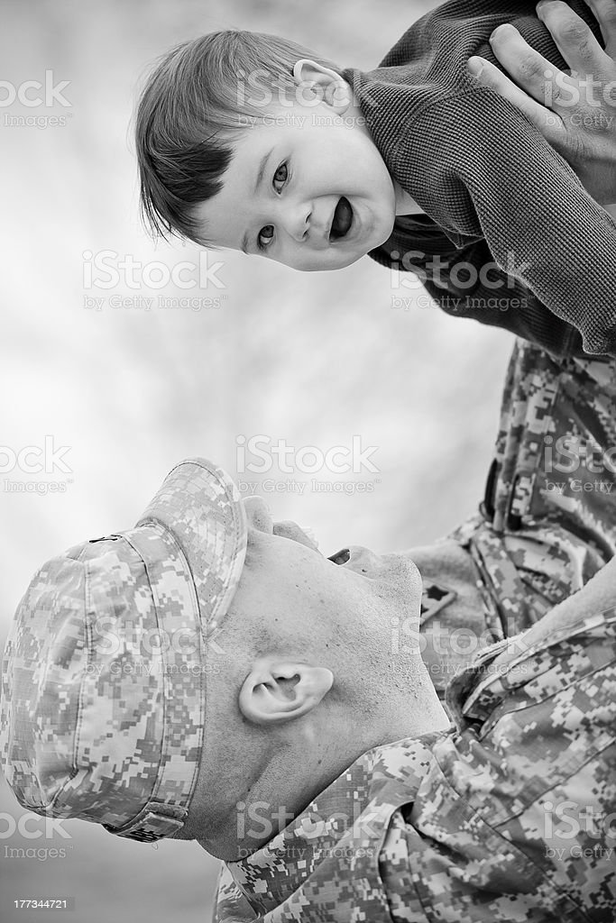 Soldier and son stock photo
