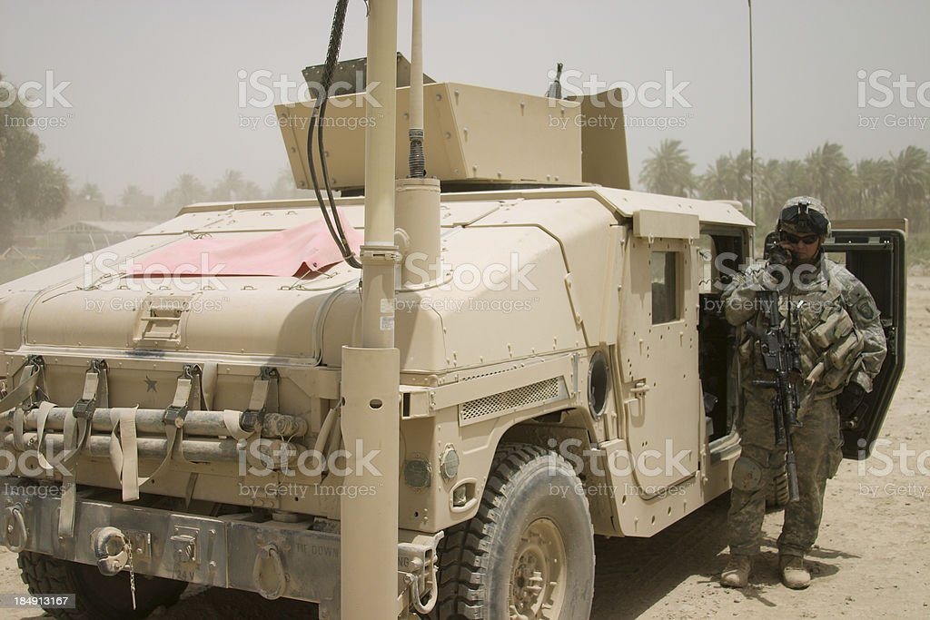Soldier and Truck stock photo