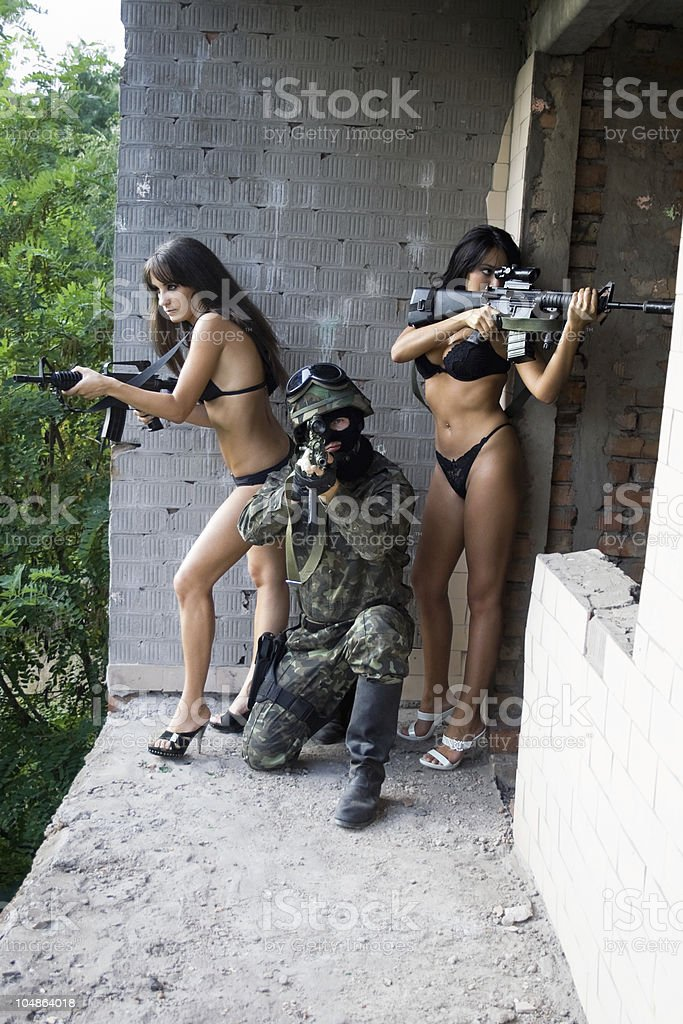 soldier and two women royalty-free stock photo