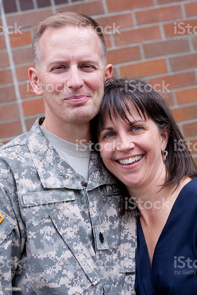 Soldier and wife royalty-free stock photo
